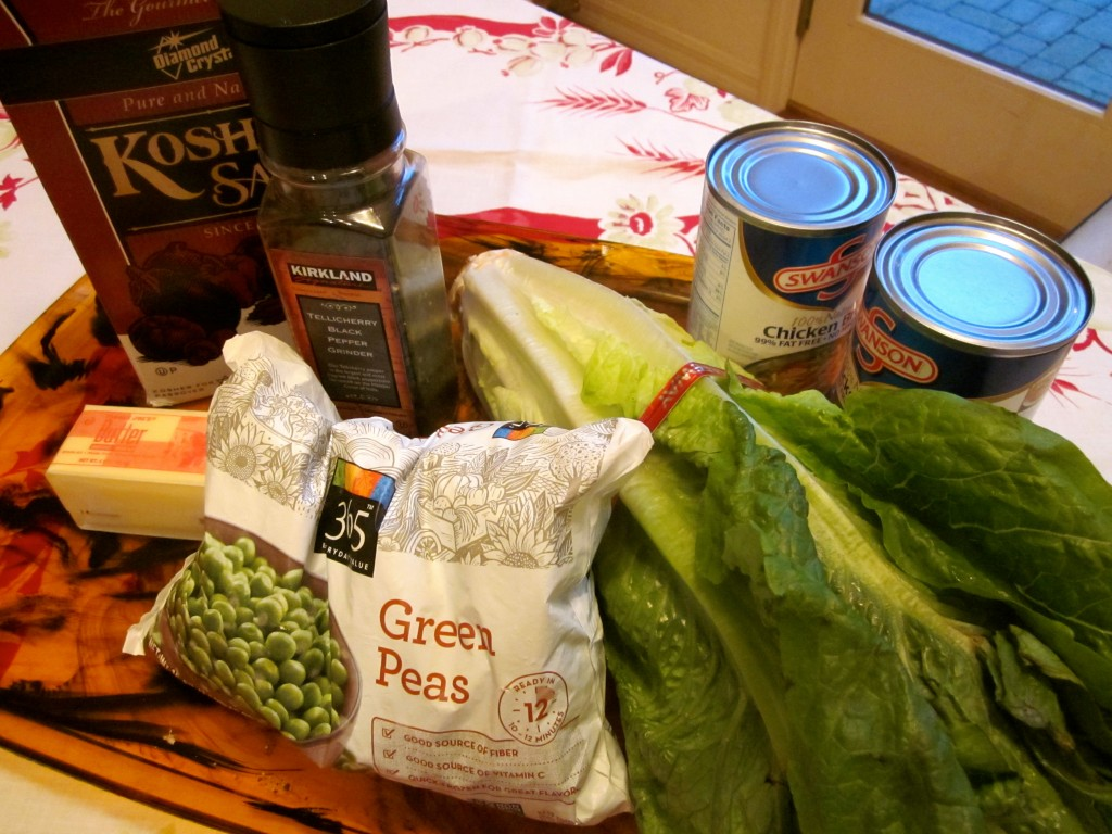 As you can tell from my Mise en Place, The ingredients for this simple soup are probably already in your pantry, refridgerator or freezer.