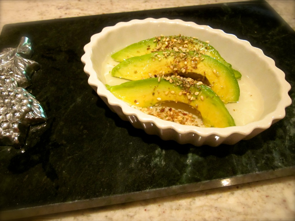 Avocado with Meyer Lemon olive oil and Dukkah