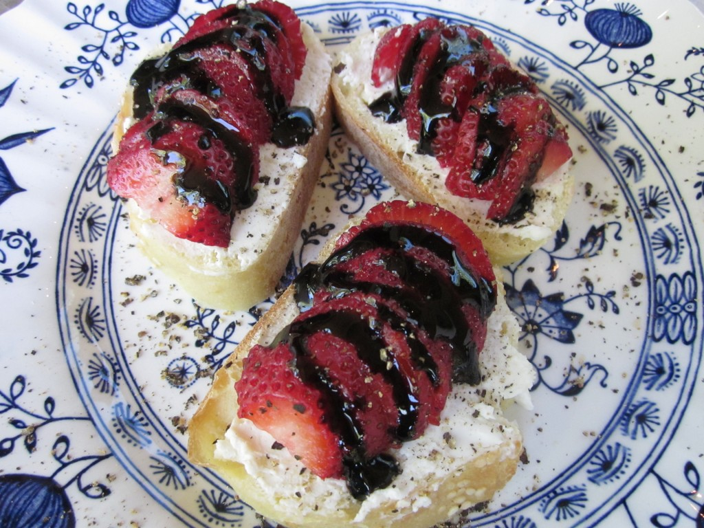 After dripping balsamic glaze on the strawberries, I let them rest for 5 minutes so the glaze can seem into the fruit.