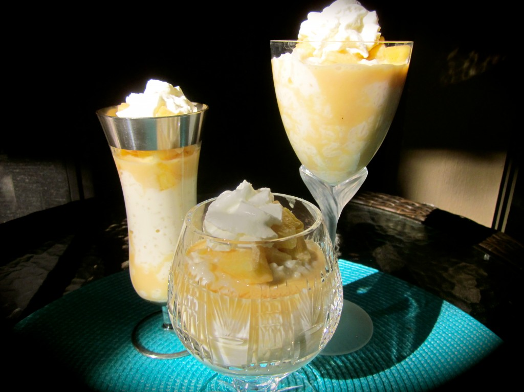 Rice Pudding with Caramel Apples topped with Whipped Cream