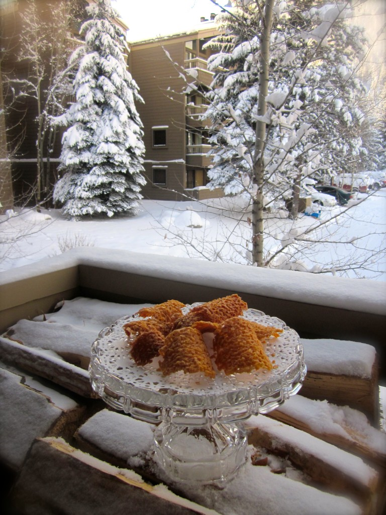 STILL LIFE: Almond-Orange Tuiles at -17 degrees and 14 inches of snow.