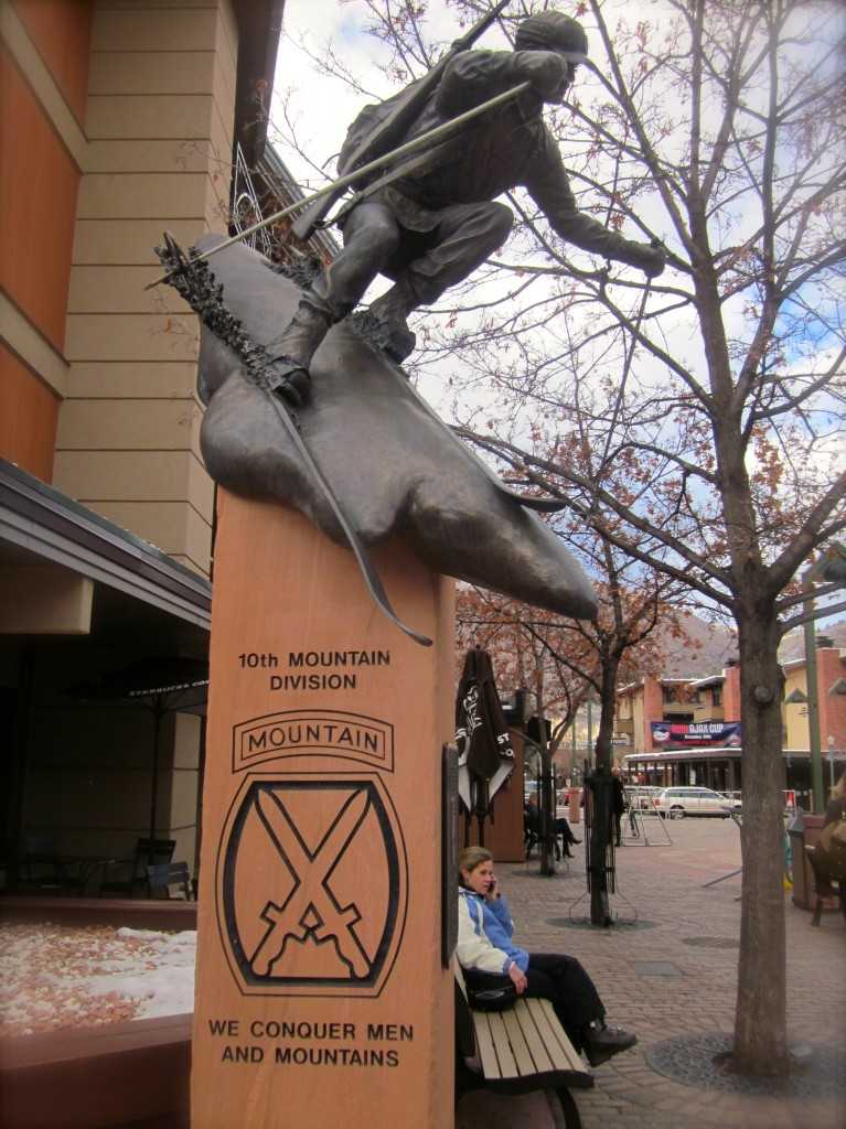 The memorial to the 10th Mountain Division in the  Aspen's Gondola  Plaza. Several 10th Mountain Division veterans returned to Aspen to bolster the area's ski industry.