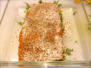 Flip the salmon and rub mixture into the flesh (no holes).