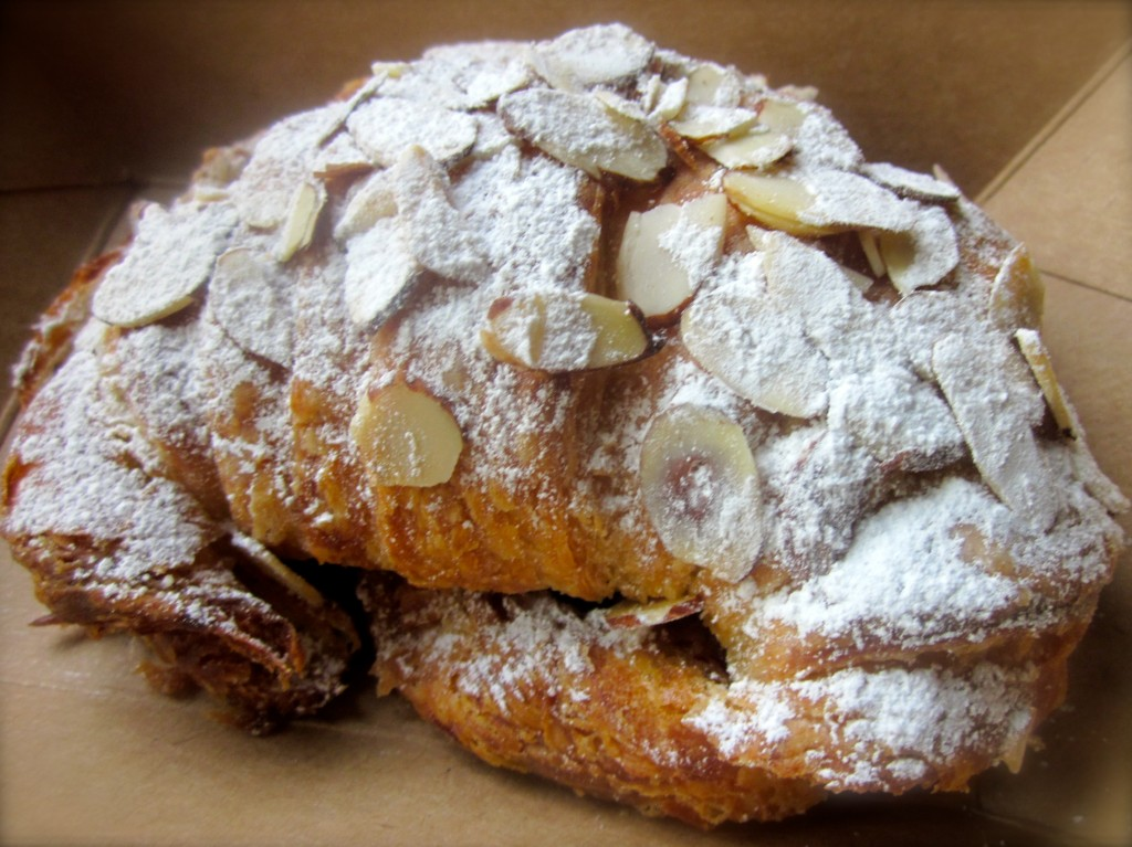 Pour moi. An almond croissant. And, yes, I hung out at Hoppe's, chatted with Sarah and ate the whole thing.