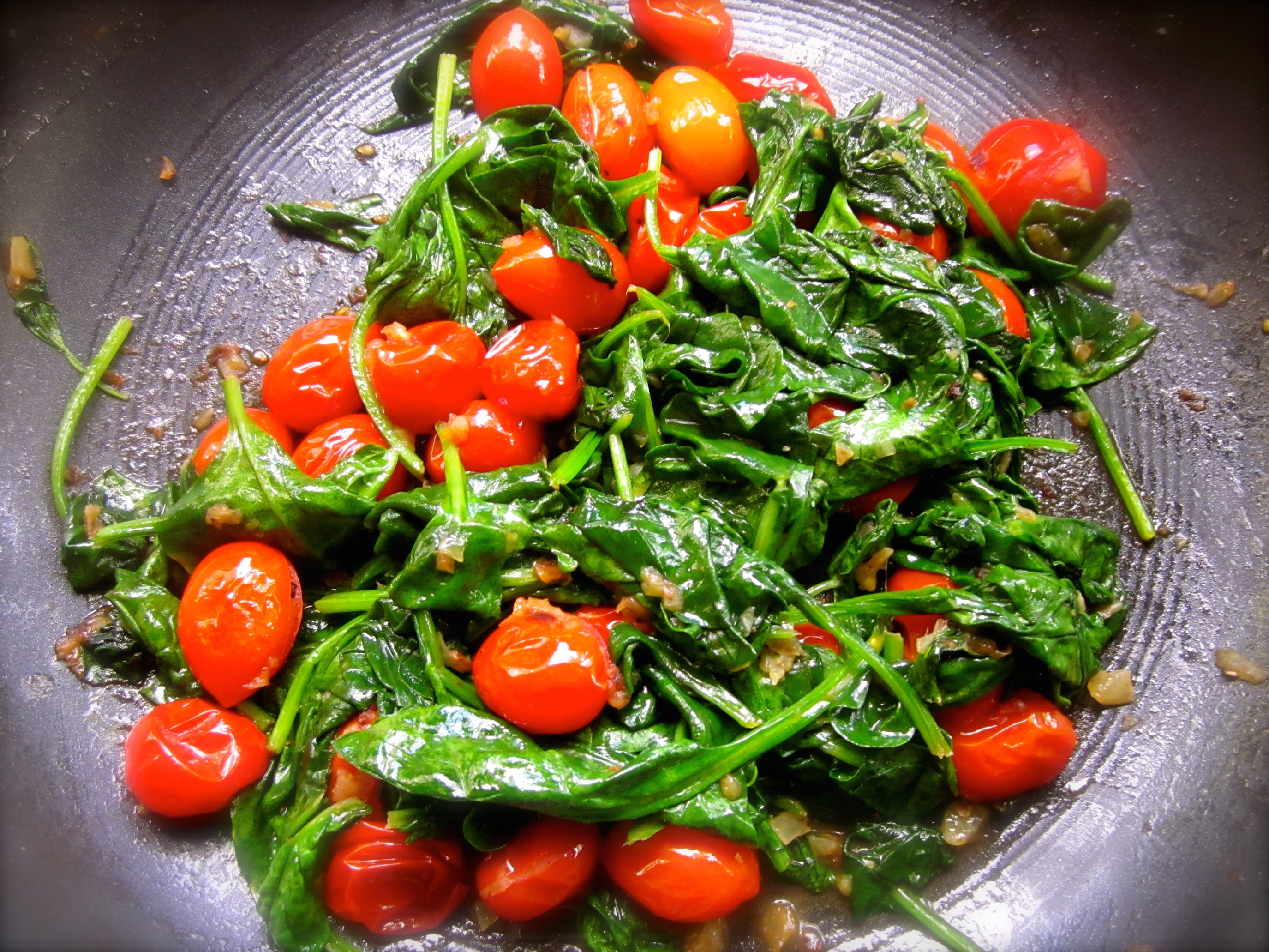 Sauteed spinach and tomatoes made a perfect p