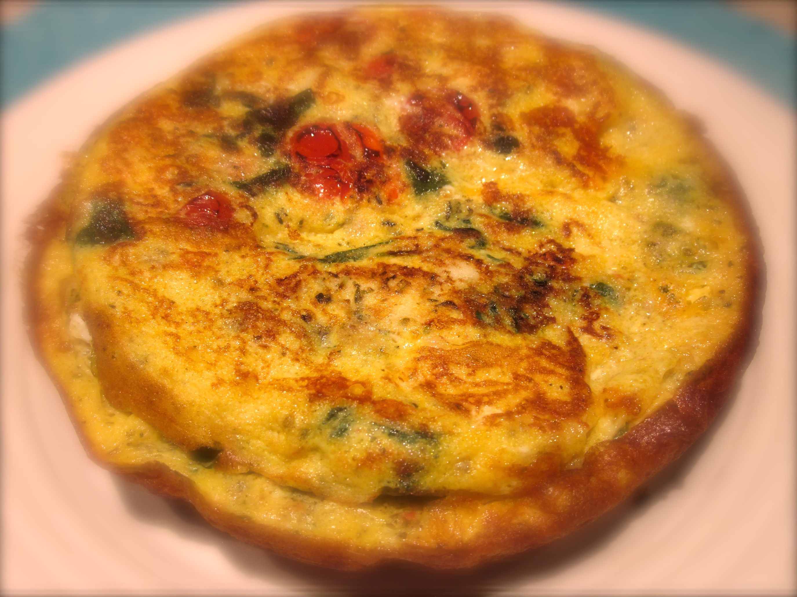 Cod, Spinach, Cheese & Tomato Frittata (a great use of leftovers)