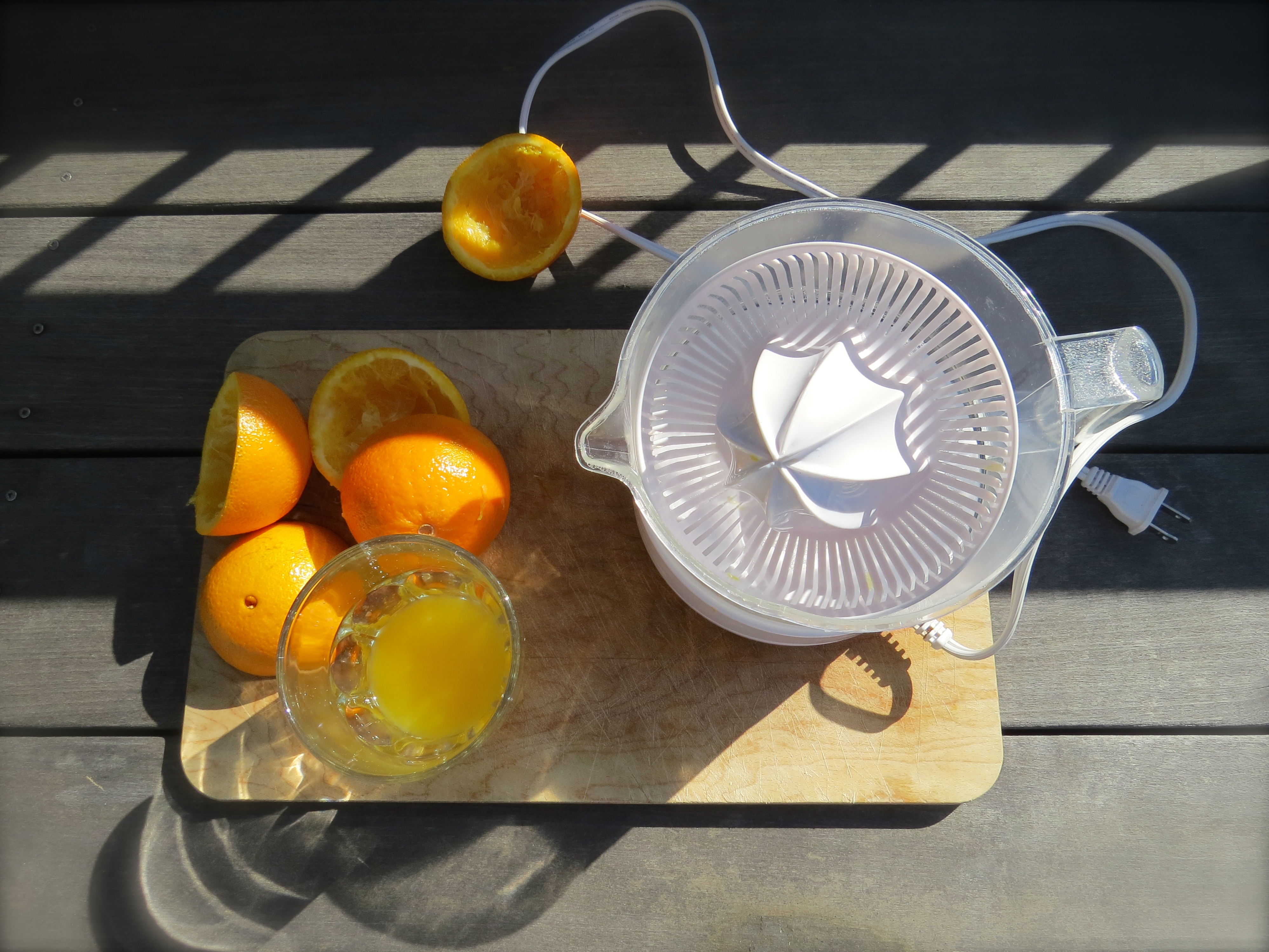 Fresh squeezed orange juice is a morning treat.