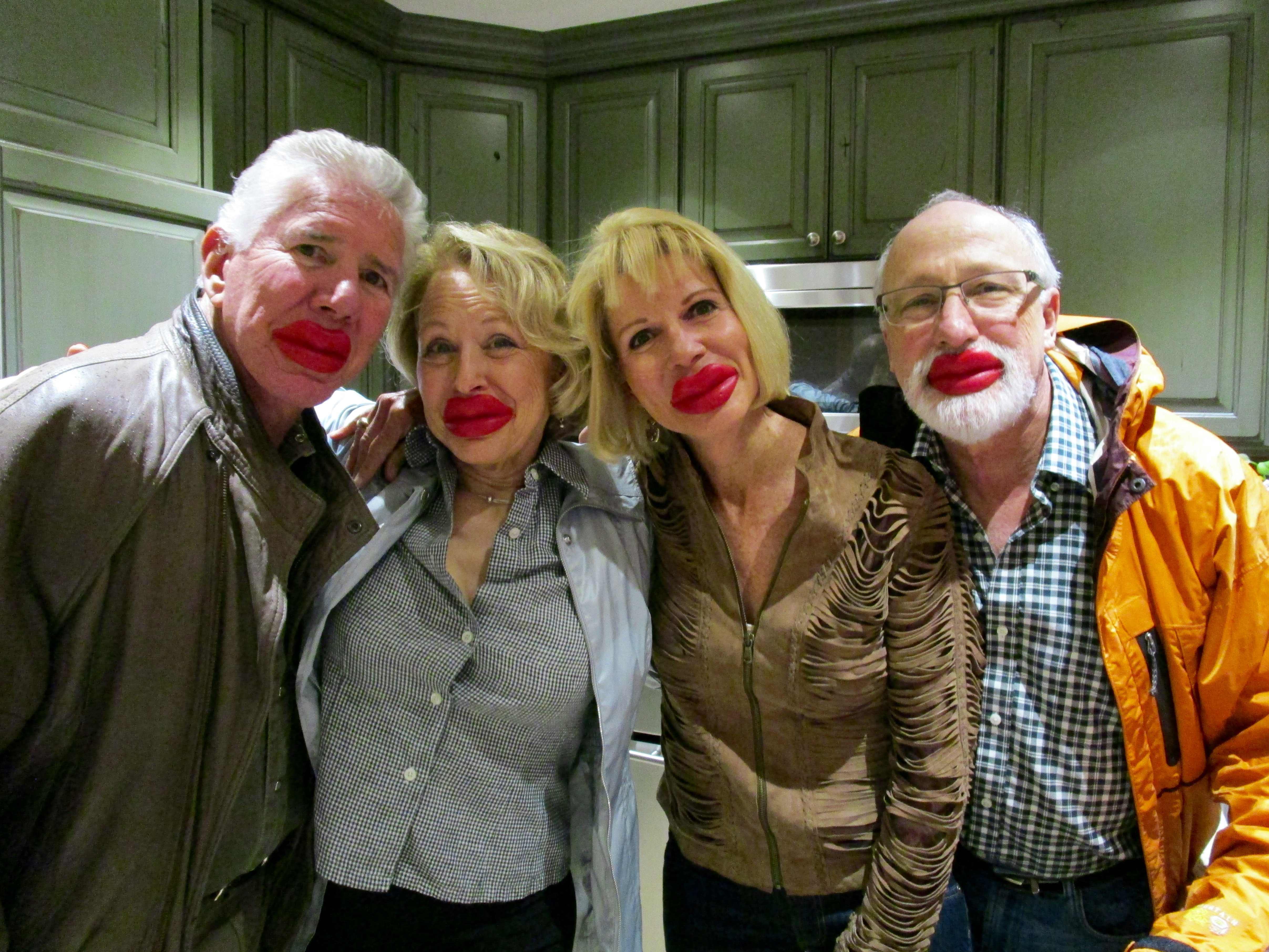 """When I issued my dinner invitation, I said, """"Wear Your Lipstick,"""" and they did. L to R, Steve Chase, Donna Grauer, Donna Chase and the birthday boy, Bernie Grauer."""