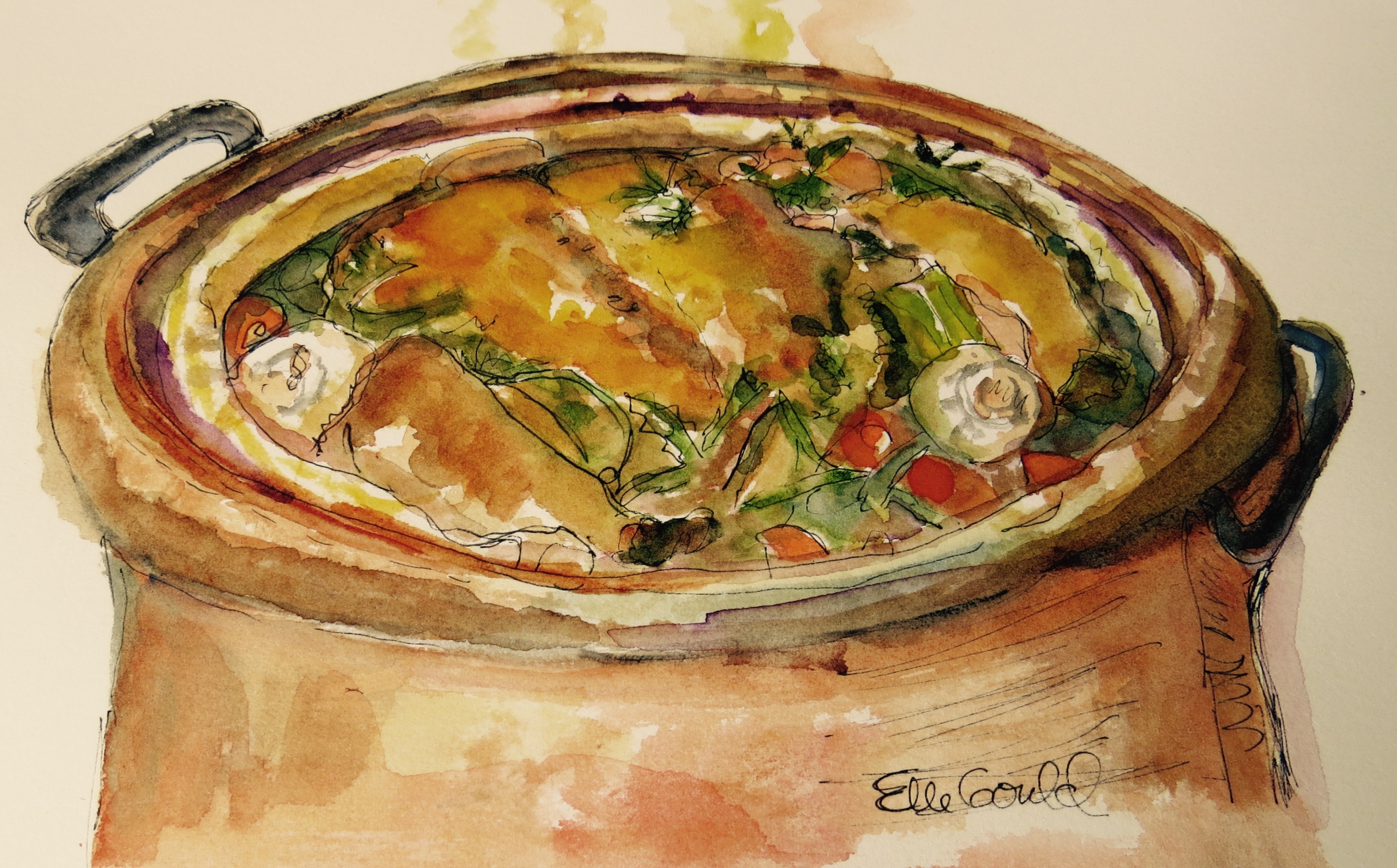 Chicken In A Pot is the  cookbook cover of Around My French Table by Dorie Greenspan. Watercolor by Ellie Gould.