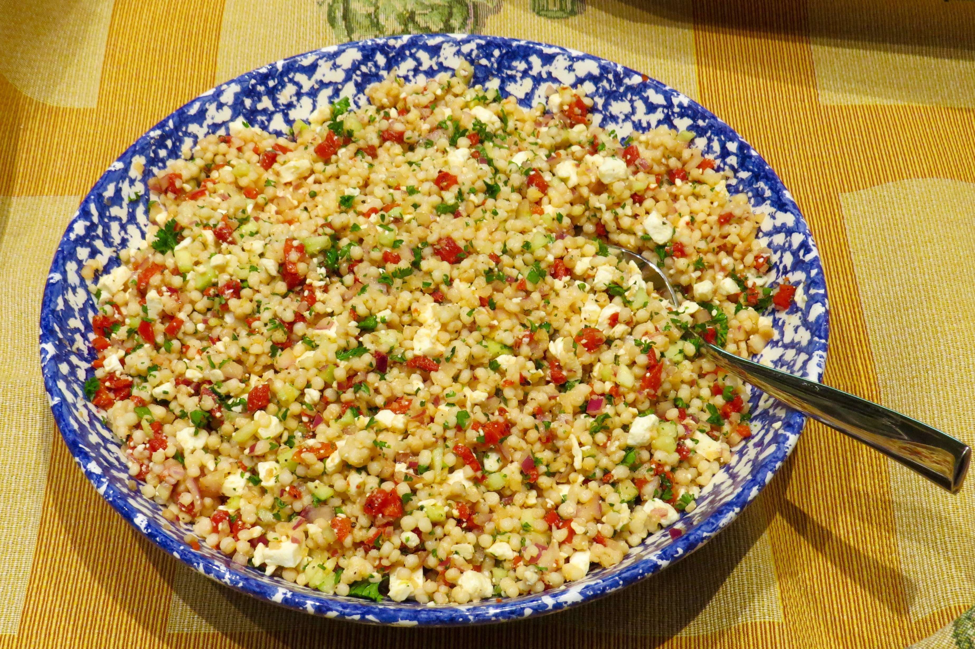 Quick Couscous Salad with Peppers and Feta is perfect to have for lunch, take on a picnic, or share at a potluck supper.