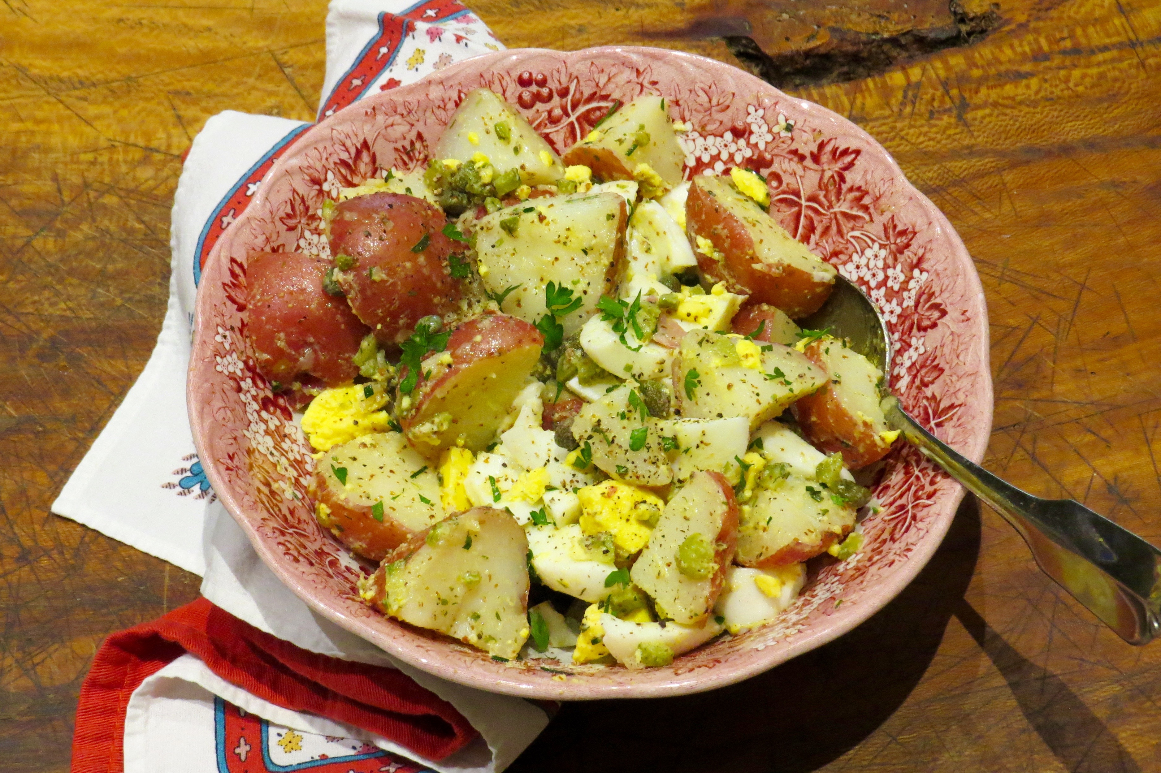 """New Potato Salad """"Tartare"""" with """"soft"""" hard-boiled eggs, capers, gherkins and fresh herbs."""