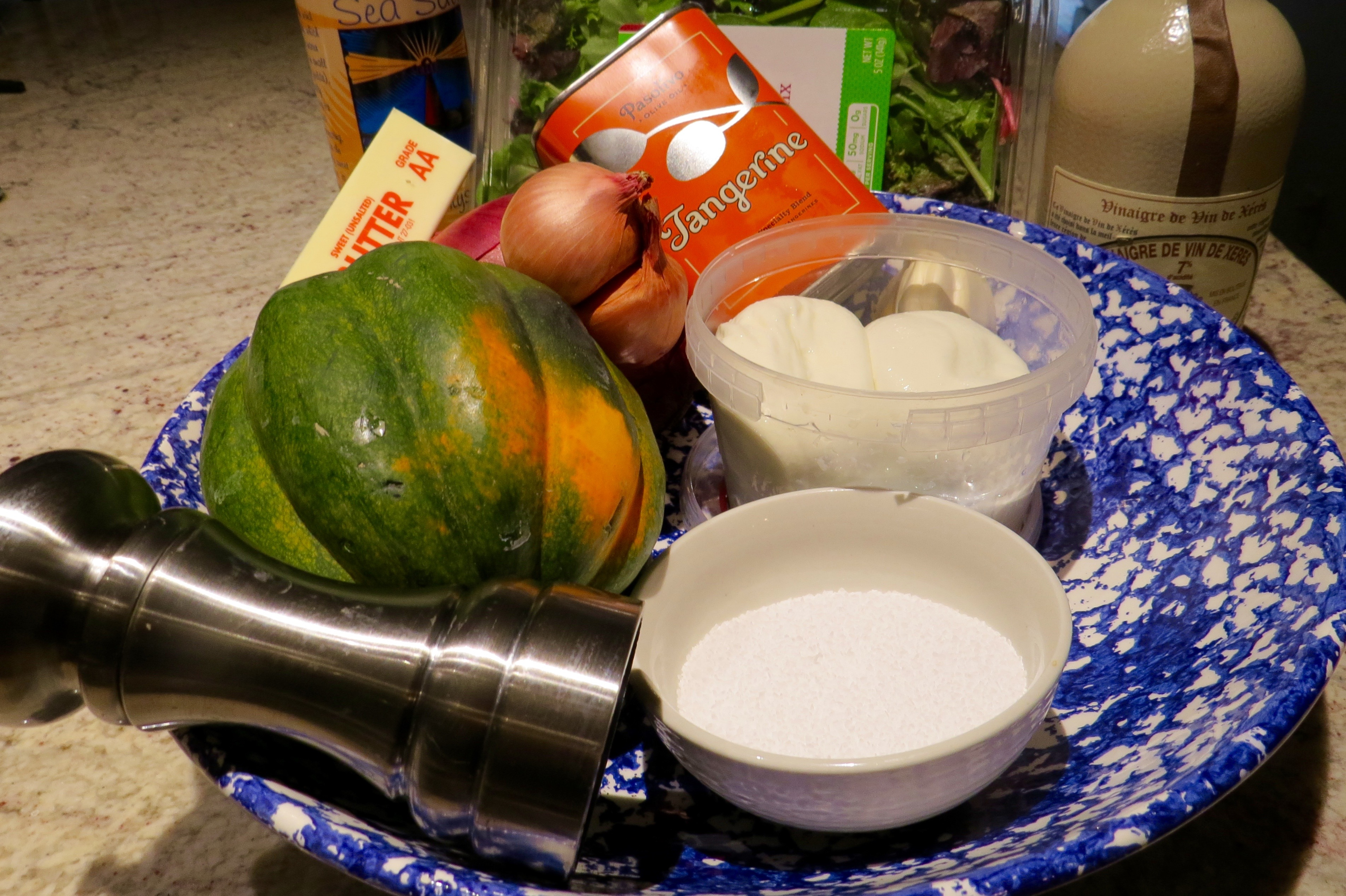 MISE en PLACE ( the necessary ingredients) for ROASTED ACORN SQUASH WITH GARLIC BUTTER and BURRATA