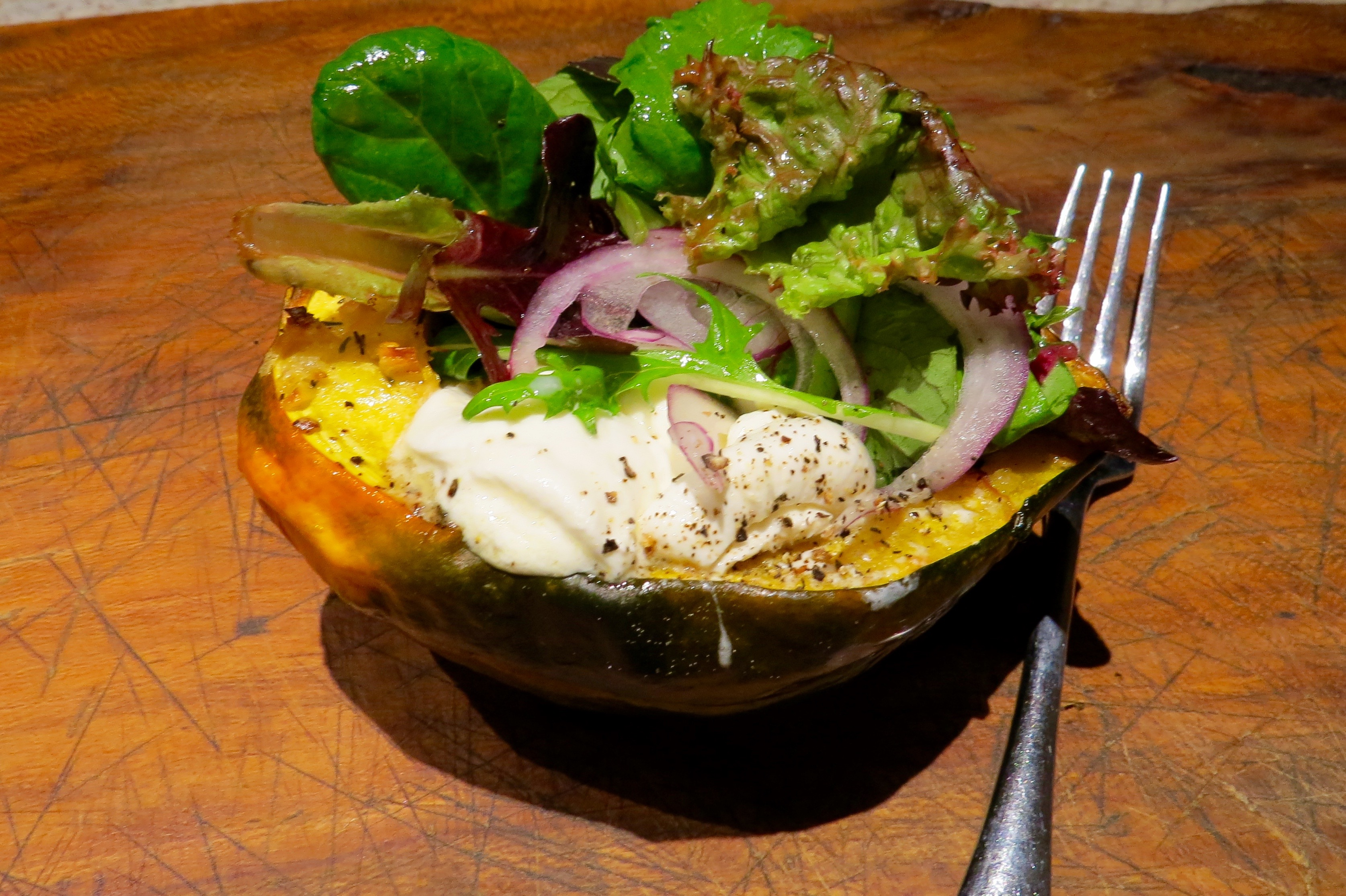 ROASTED ACORN SQUASH with GARLIC BUTTER and BURRATA
