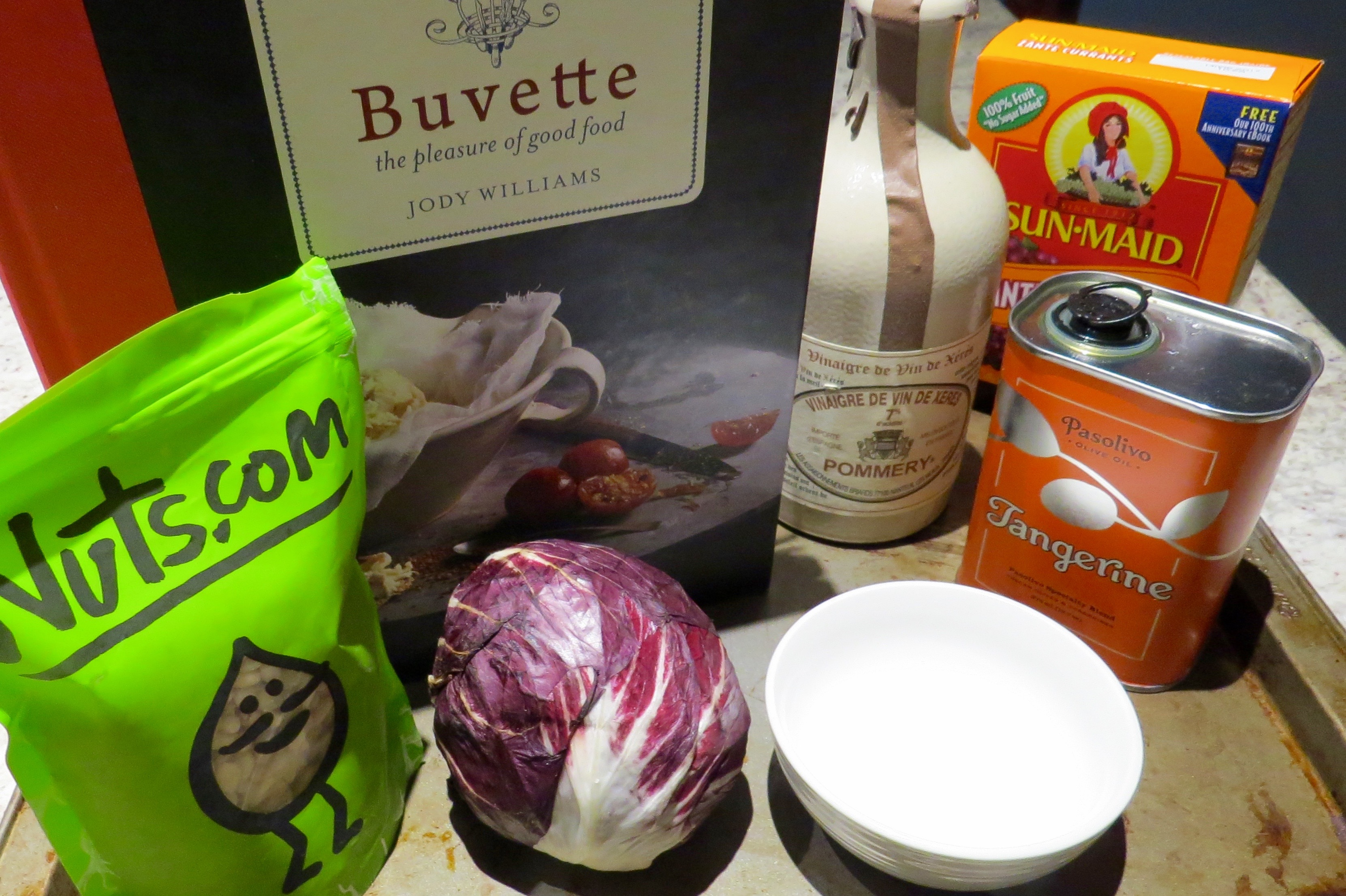 MISE en PLACE (the necessary ingredients) for  RADICCHIO WITH PINE NUTS, CURRANTS AND AGED BALSAMIC