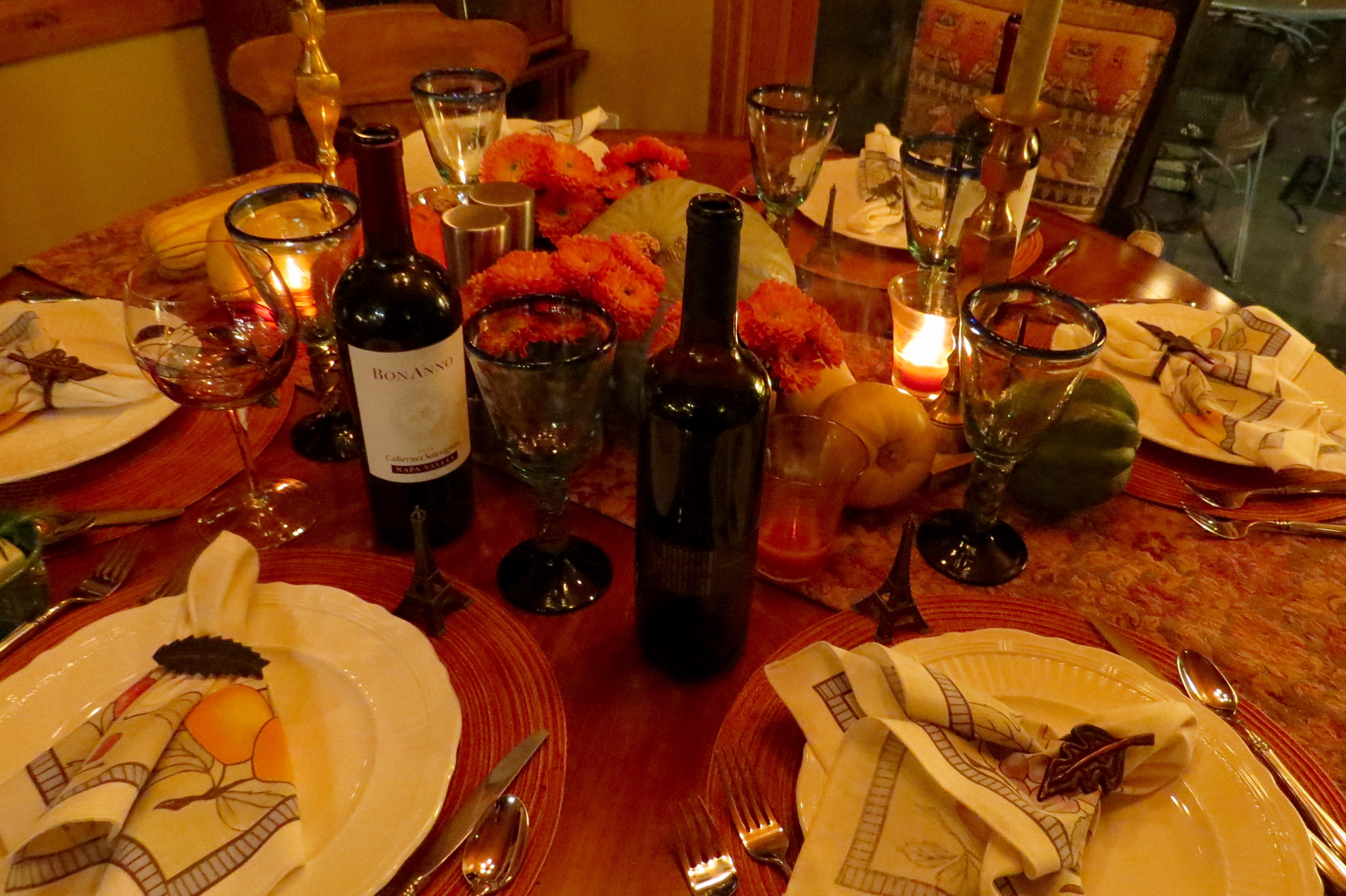 Donna Grauer set a beautiful table for the evening. Note the tiny towers at each place setting.