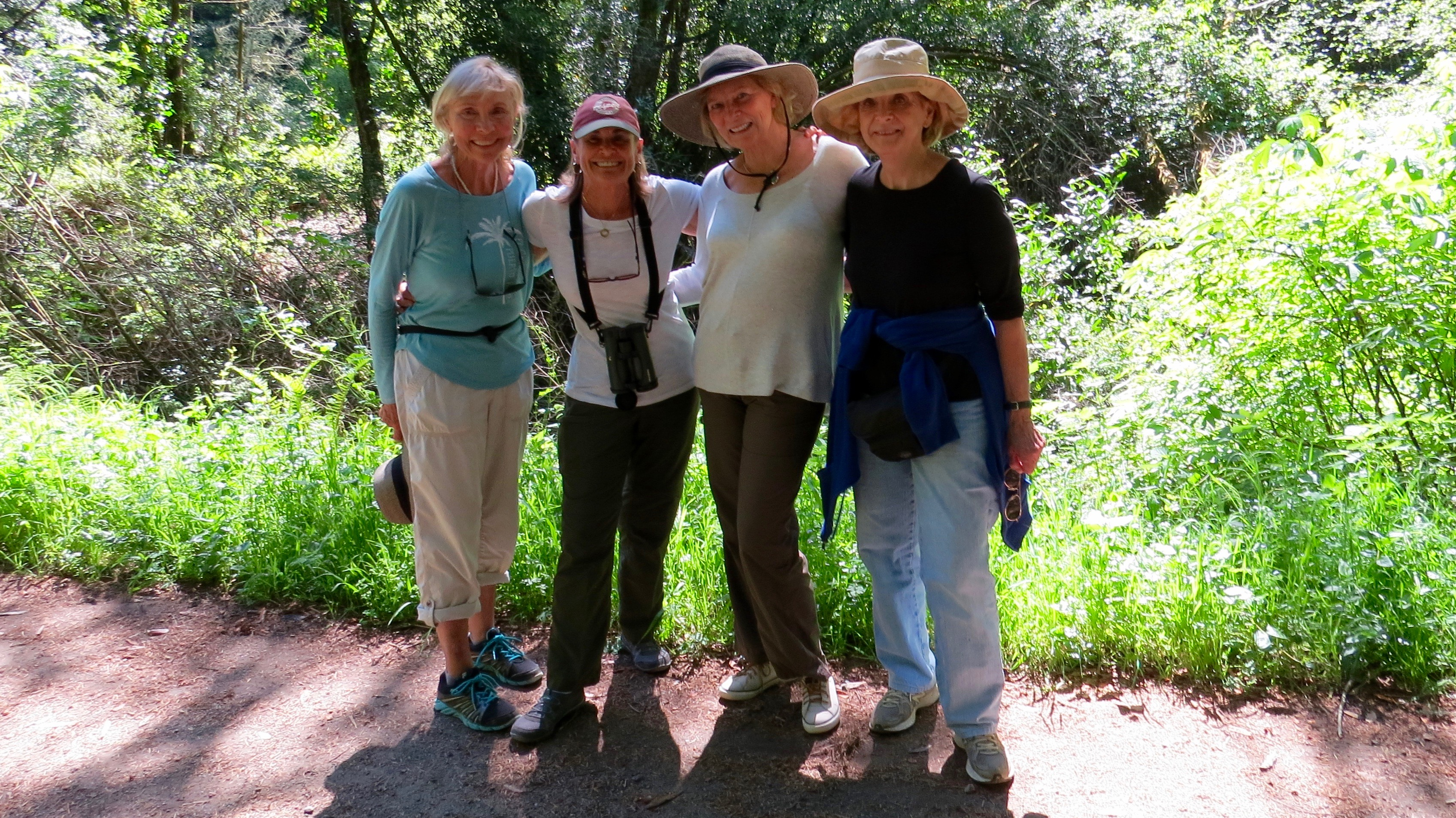 Enjoying a reunion with new friends, Rita, Bobbie and Susan (LtoR) before returning to Colorado. Bear Valley Trail. Point Reyes National Seashore.