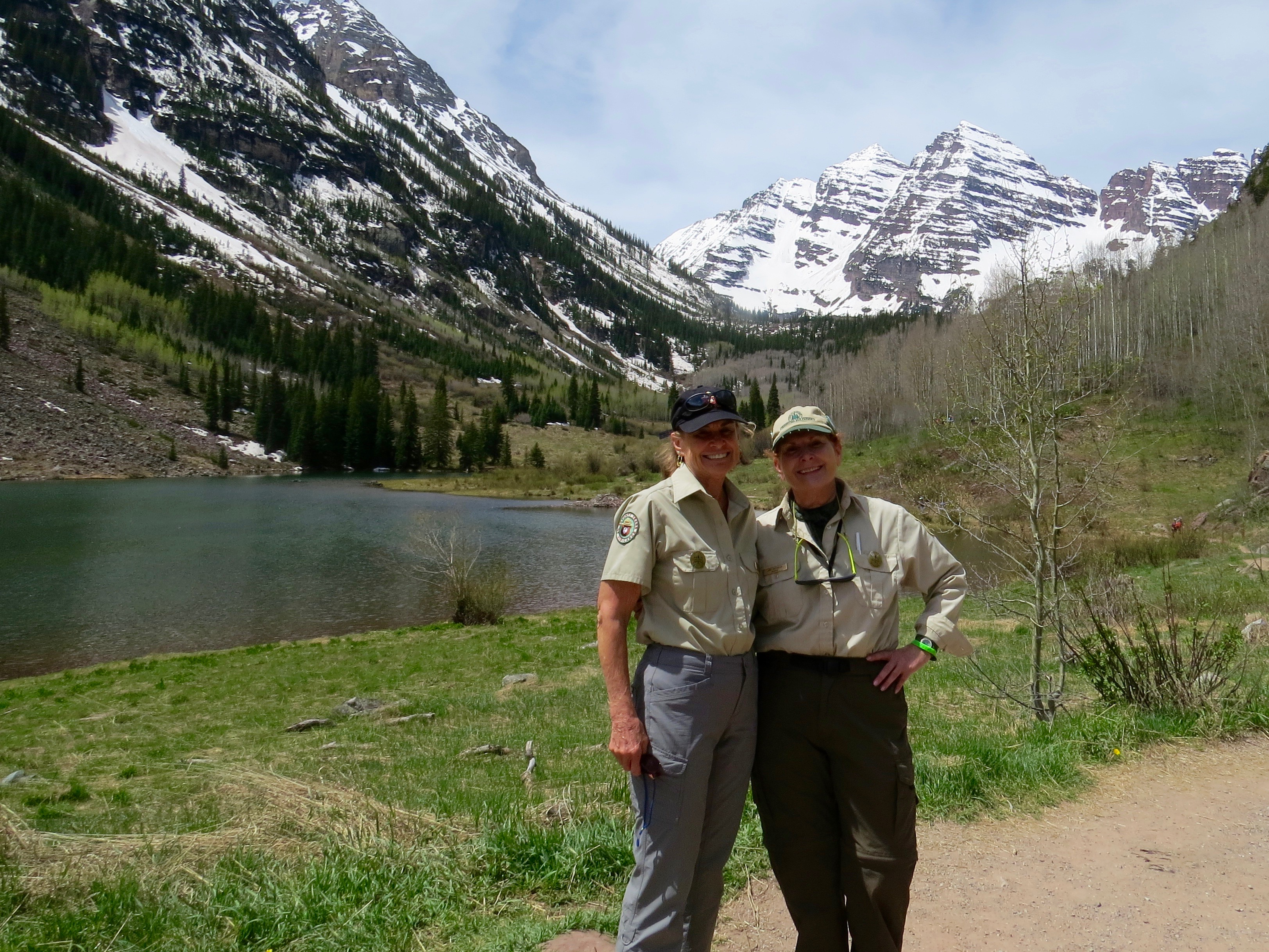 My first-of-the-season patrol at the Maroon Bells with friend Jane Batagglia. We never take the grandeur of the Bells for granted.