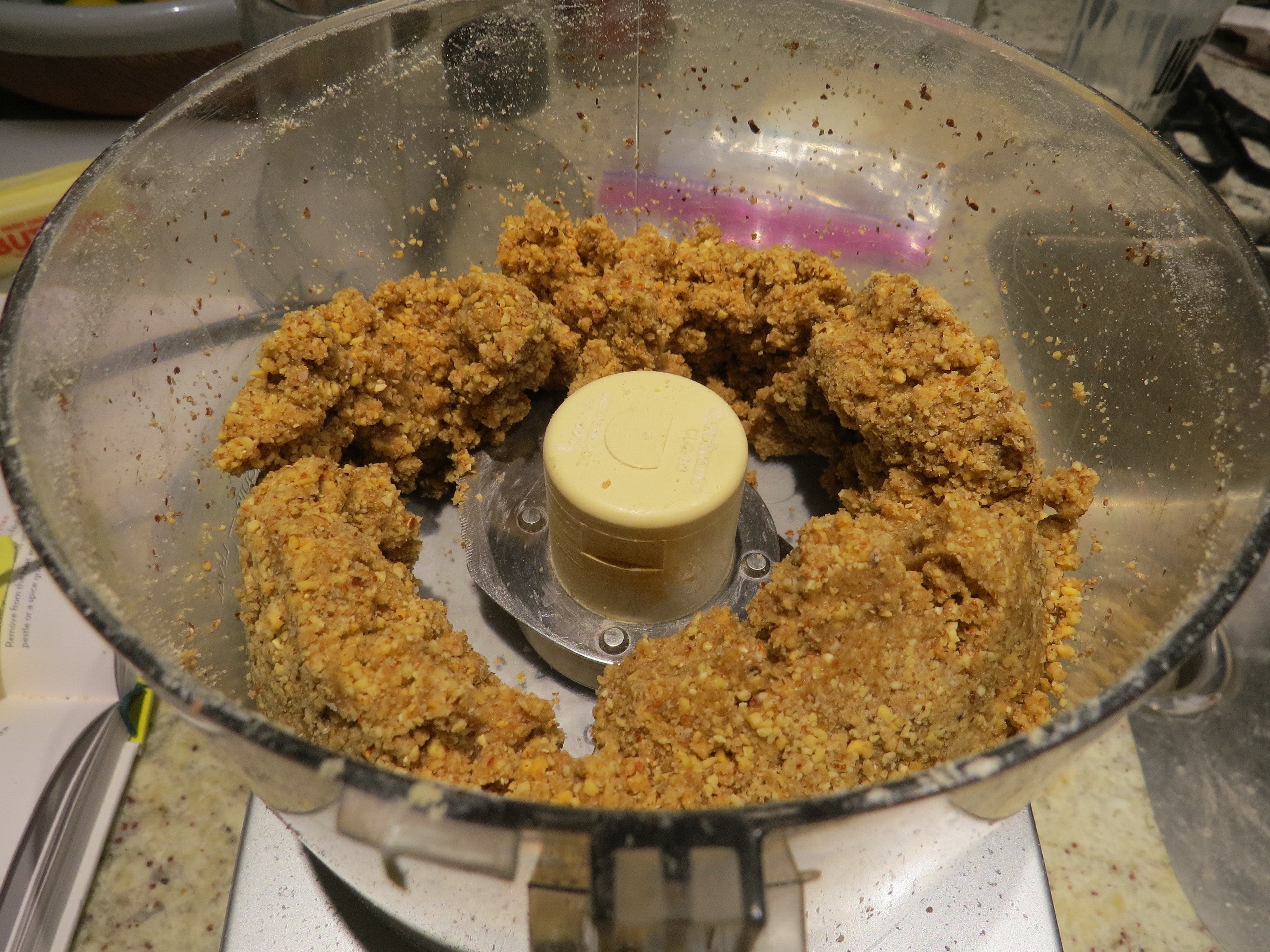 The crumble topping should look like this before you pop it in the fridge to chill.