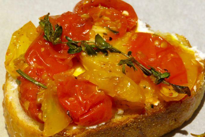 Cherry Tomato Crostini  with Herbed Goat Cheese