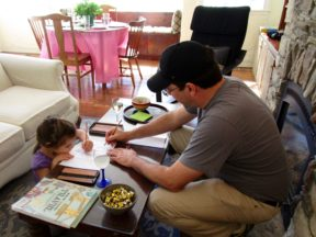 ALAIA, 4, with HER DADDY, MARCEL, WHILE VISITING ME IN CAMBRIA.