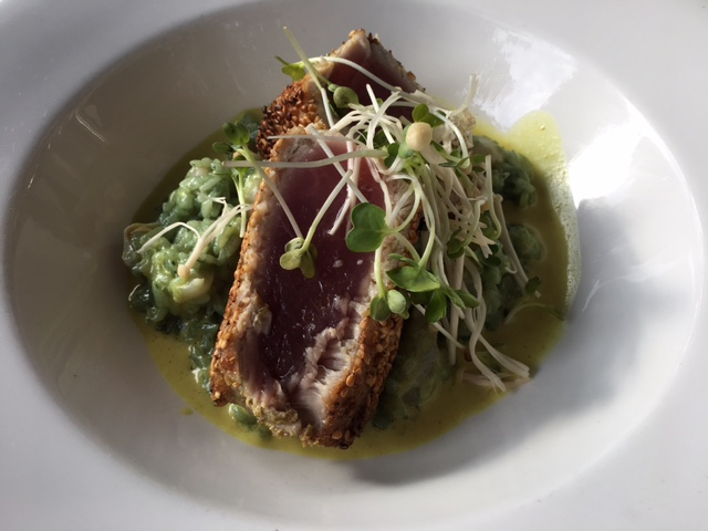 LUNCH at the OCCIDENTAL GRILL & SEAFOOD - YELLOWFIN TUNA with BENNE SEED CRUST.